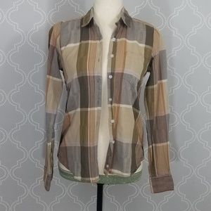 Steven Alan Brown Plaid Blouse